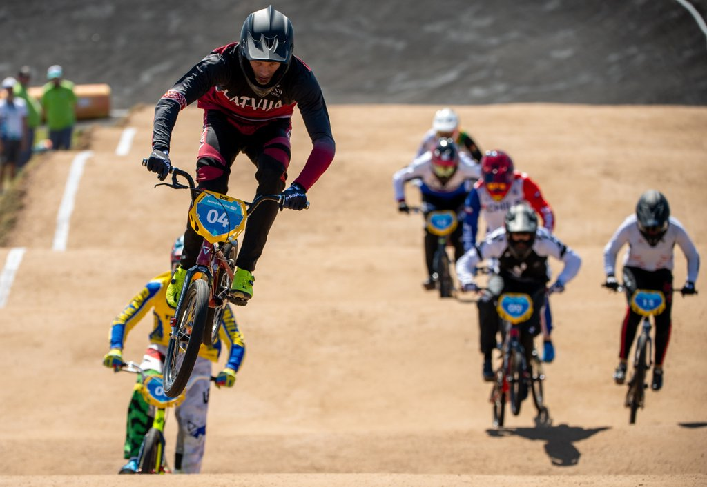Edvards Glazers LAT leads during the Cycling Mixed BMX Racing Men's Semifinals Heats at Paseo De La Costa. The Youth Olympic Games, Buenos Aires, Argentina, Sunday 7th October 2018. Photo: Thomas Lovelock for OIS/IOC. Handout image supplied by OIS/IOC